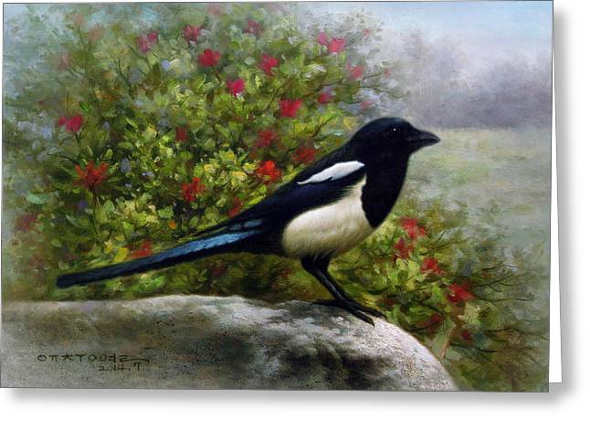 Good News Greeting Cards -  Magpie Greeting Card by Yoo Choong Yeul