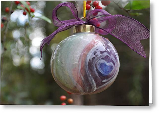 Round Ceramics Greeting Cards -  Majolica Maiolica Ornament Greeting Card by Amanda  Sanford