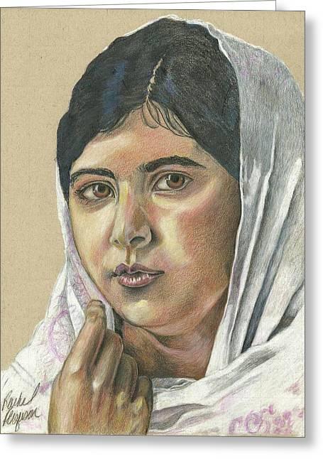 Taliban Greeting Cards -  Malala Yousafzai Portrait Greeting Card by Rachel Ferguson