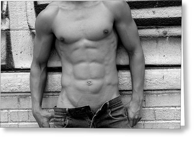 Monochrome Greeting Cards -  Male Abs Greeting Card by Mark Ashkenazi