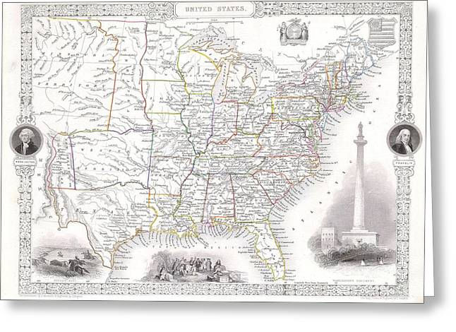 Treaty Of London Greeting Cards -  Map of the United States Greeting Card by Paul Fearn