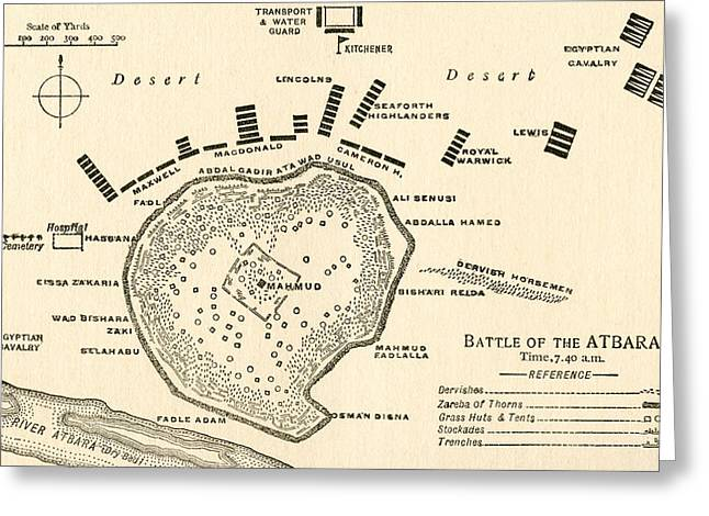 Border Drawings Greeting Cards -  Map showing The Battle of Atbara during the Second Sudan War Greeting Card by English School