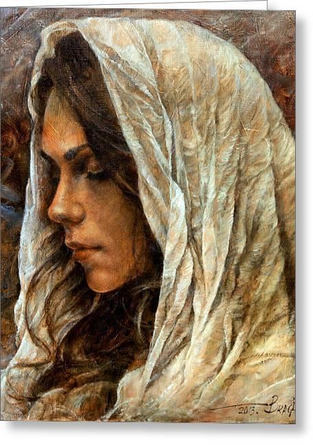 Girl In Turban Greeting Cards -  Maria2 Greeting Card by Arthur Braginsky