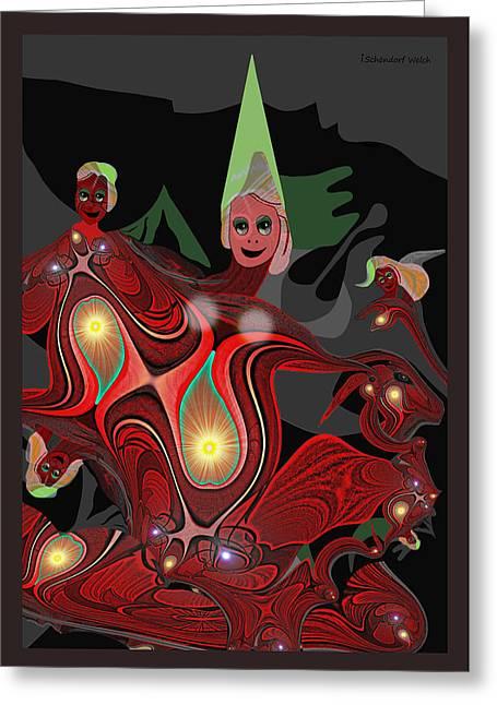 Fallen Angels Greeting Cards -  Mayhem - 442 ... Greeting Card by Irmgard Schoendorf Welch