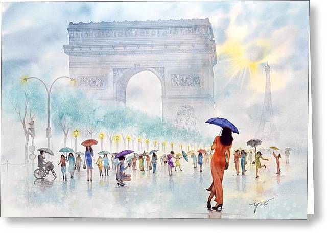 Most Greeting Cards -  Memory Of Paris France Greeting Card by John YATO