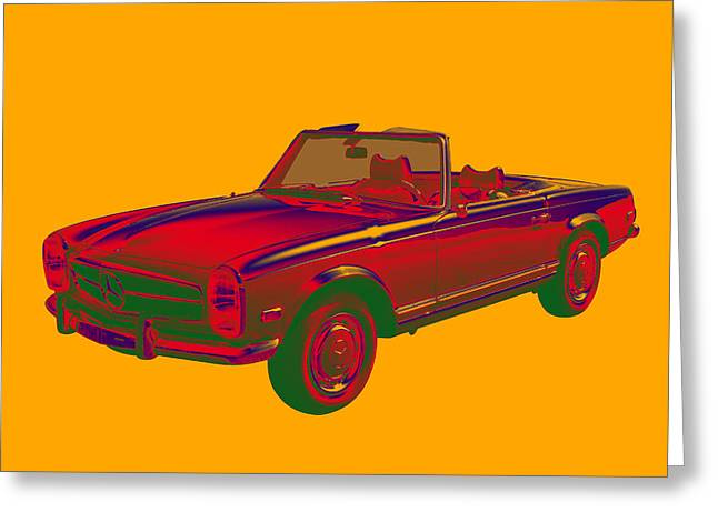 Timer Greeting Cards -  Mercedes Benz 280 SL Convertible Pop Art Greeting Card by Keith Webber Jr