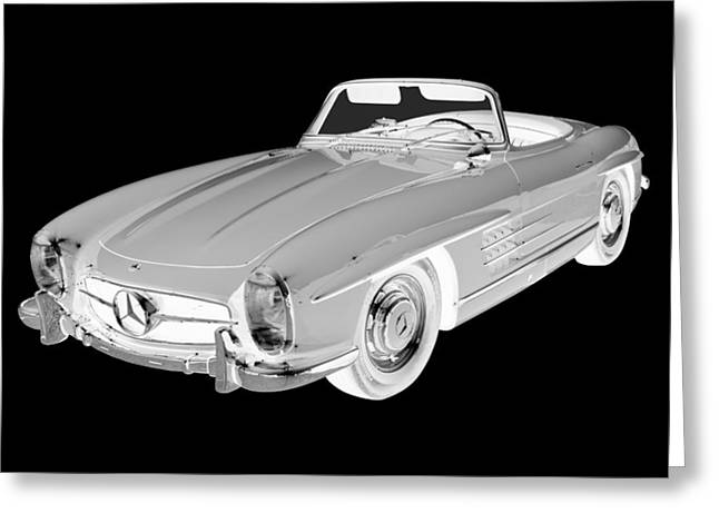 1960 Digital Art Greeting Cards -  Mercedes Benz 300 SL Convertible Car Art Greeting Card by Keith Webber Jr