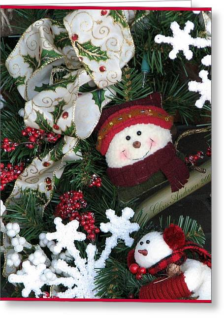 Earmuffs Greeting Cards -  Merry Christmas Snowmen Wreath Greeting Card by Chris Anderson