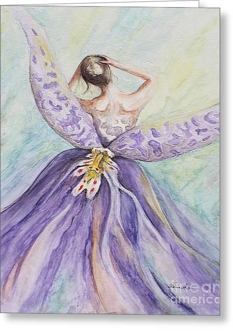 Flower Pink Fairy Child Greeting Cards -  Metamorphosis Greeting Card by Danuta Bennett