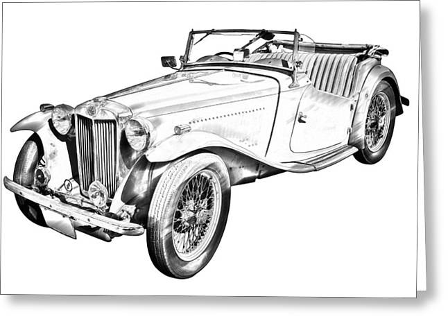 Spokes Greeting Cards -  MG Convertible Antique Car Illustration Greeting Card by Keith Webber Jr