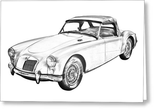 Spokes Greeting Cards -  MG Convertible Sports Car Illustration Greeting Card by Keith Webber Jr