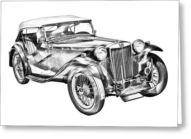Small Convertible Greeting Cards -  Mg Tc Antique Car Illustration Greeting Card by Keith Webber Jr