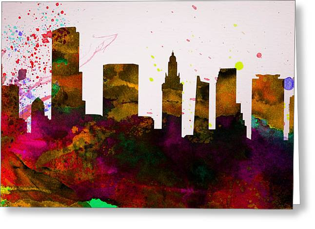 Miami Paintings Greeting Cards -  Miami City Skyline Greeting Card by Naxart Studio