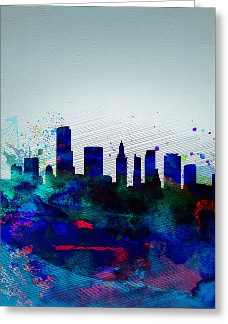 United States Capital Greeting Cards -  Miami Watercolor Skyline Greeting Card by Naxart Studio