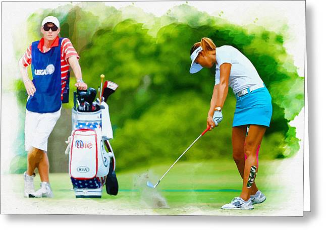 Northern Africa Digital Art Greeting Cards -  Michelle Wie - The 69th U.S. Womens Open  Greeting Card by Don Kuing