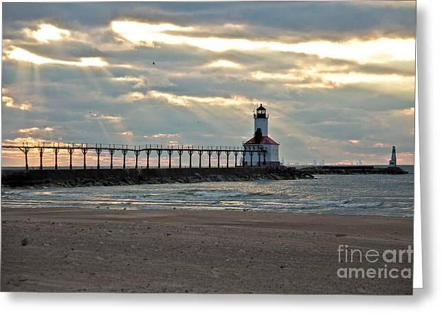 Indiana Springs Digital Art Greeting Cards -  Michigan City Indiana Lighthouse on a cold early spring day. Greeting Card by Lynne Dohner