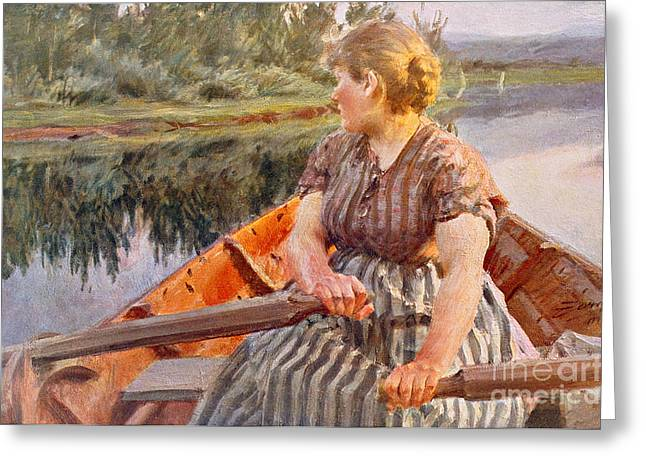 Water Vessels Greeting Cards -  Midsummer Night Greeting Card by Anders Leonard Zorn