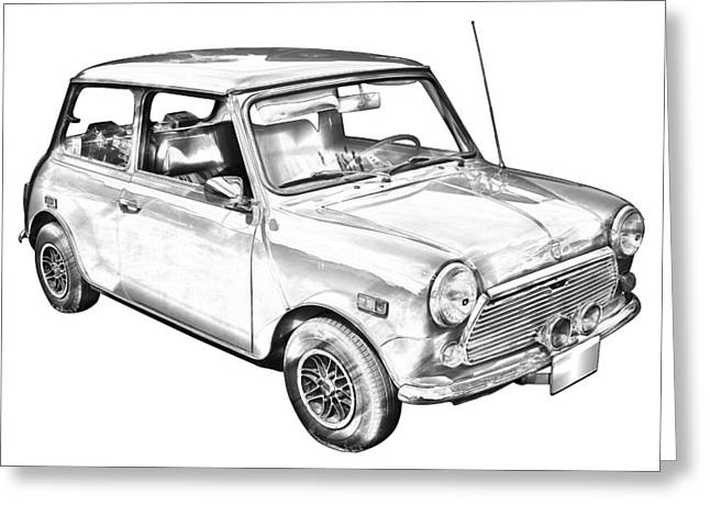 English Car Greeting Cards -  Mini Cooper Illustration Greeting Card by Keith Webber Jr