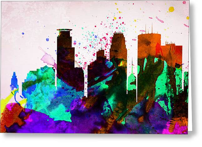Downtown Digital Greeting Cards -  Minneapolis City Skyline Greeting Card by Naxart Studio