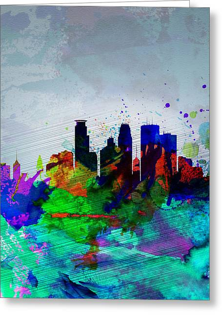 Places Greeting Cards -  Minneapolis Watercolor Skyline Greeting Card by Naxart Studio