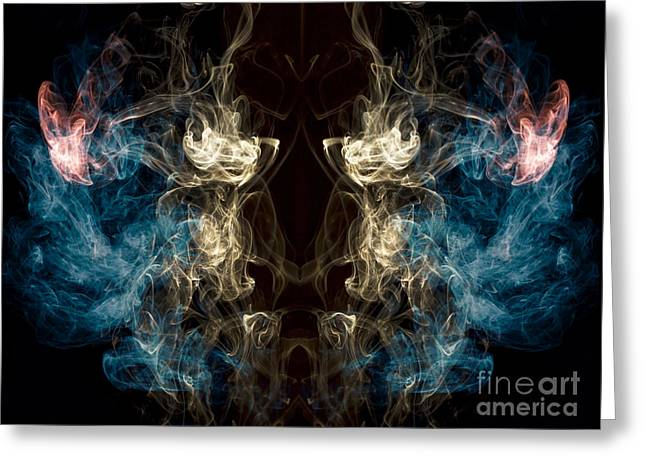 Greek Myths Greeting Cards -  Minotaur Smoke Abstract Greeting Card by Edward Fielding
