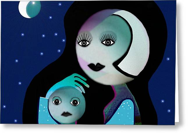 Gimp Greeting Cards - 042 - Moon-Mother-Child   B Greeting Card by Irmgard Schoendorf Welch