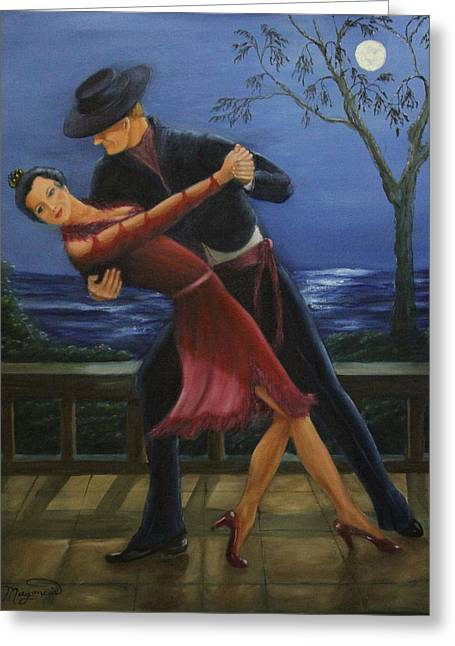 Moonlight  Tango Greeting Card by Lou Magoncia