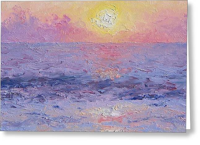 Ocean Photos Paintings Greeting Cards -  Moonrise Impression Greeting Card by Jan Matson