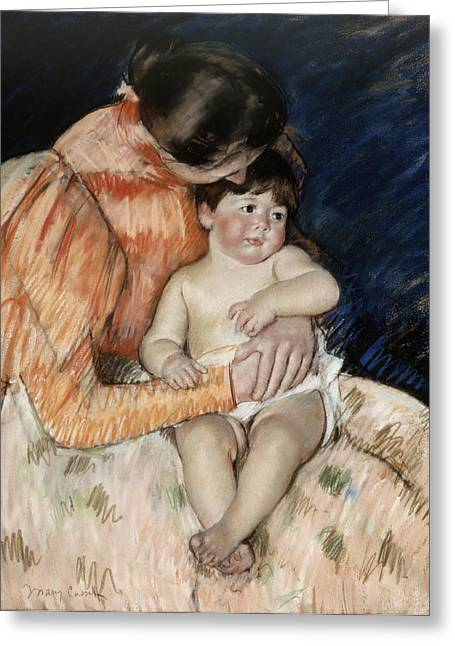 African-american Paintings Greeting Cards -  Mother And Child Greeting Card by Mary Cassatt