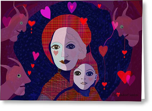 Naive Art Greeting Cards -  Mother Child Heart  - 638 Greeting Card by Irmgard Schoendorf Welch