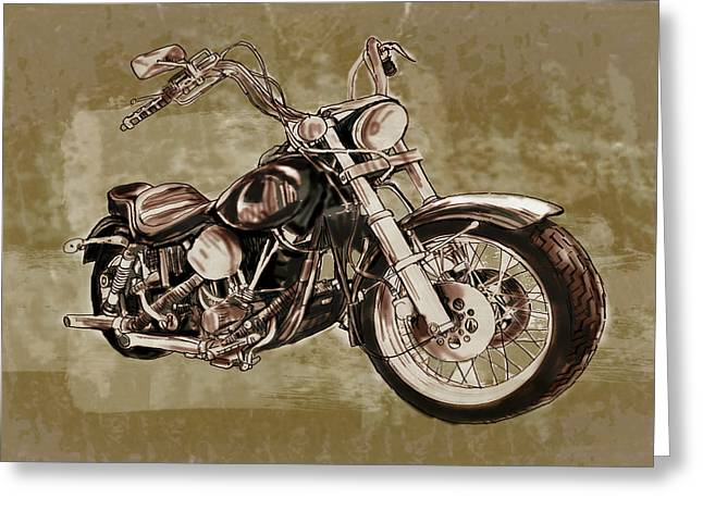 Self-portrait Mixed Media Greeting Cards -  Motorcycle Art Sketch Poster Greeting Card by Kim Wang