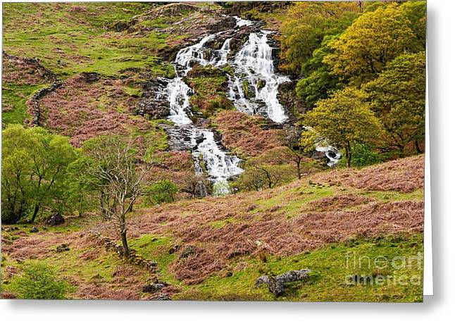 Wales Prints Greeting Cards -  Nant Gwynant Waterfalls III Greeting Card by Maciej Markiewicz
