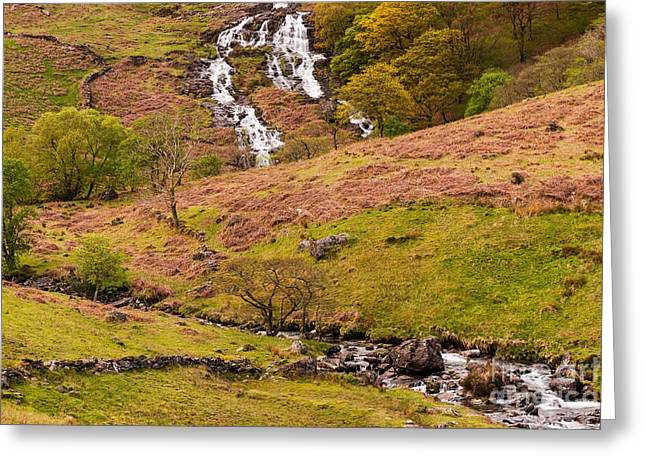 Wales Prints Greeting Cards -  Nant Gwynant Waterfalls IV Greeting Card by Maciej Markiewicz