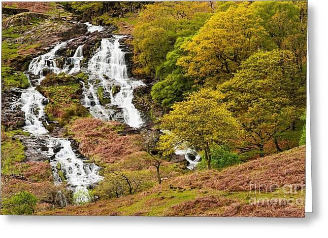 Wales Framed Prints Greeting Cards -  Nant Gwynant Waterfalls V Greeting Card by Maciej Markiewicz