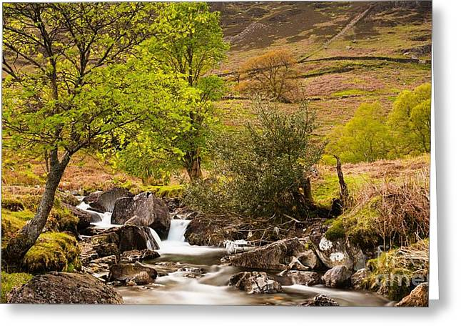 Nant Gwynant Waterfalls VII Greeting Card by Maciej Markiewicz