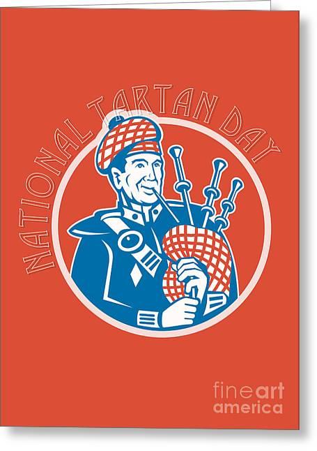 Playing Musical Instruments Greeting Cards -  National Tartan Day Bagpiper Retro Greeting Card Greeting Card by Aloysius Patrimonio