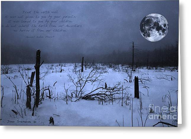 Steward Greeting Cards -  Native American Full Moon Treat The Earth Well Greeting Card by John Stephens
