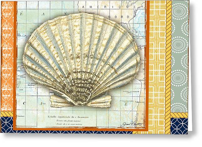 Colored Shell Digital Art Greeting Cards -  Nautical Journey-Shell B Greeting Card by Jean Plout