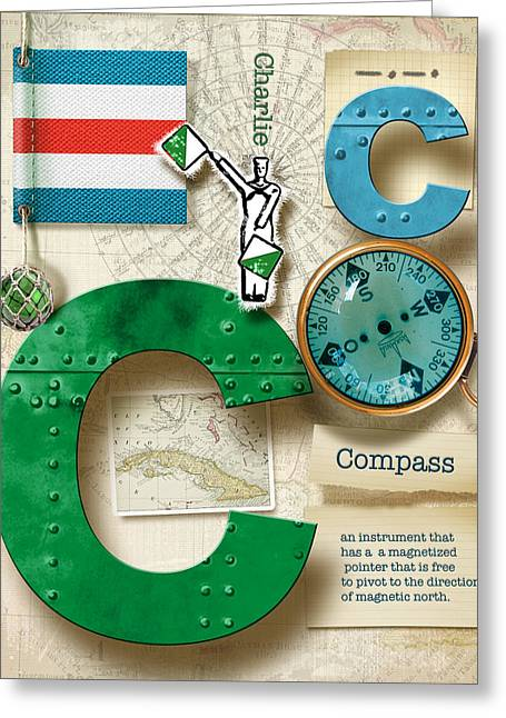 Nato Greeting Cards -  Navy Alphabet  Nautical Letter C Greeting Card by Vanessa Bates