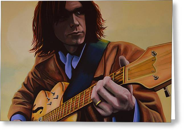 Neil Young Greeting Cards -  Neil Young  Greeting Card by Paul  Meijering