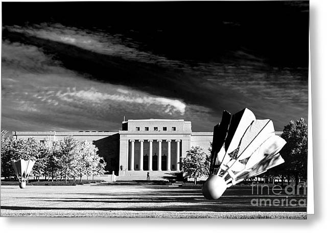 Kansas City Greeting Cards -  Nelson Adkins Art Museum BW Greeting Card by Andee Design