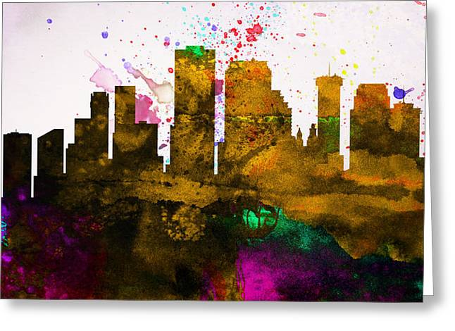 Capital Greeting Cards -  New Orleans City Skyline Greeting Card by Naxart Studio