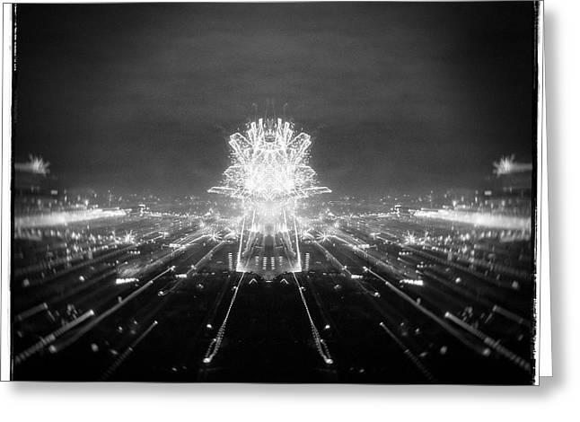 Analog Pyrography Greeting Cards -  New Years Fireworks in the city Greeting Card by Nerijus Juras