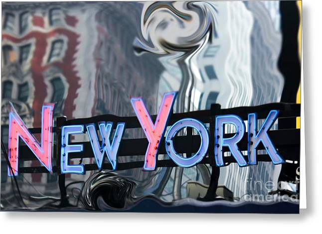 Sophie Vigneault Greeting Cards -  New York Neon Sign Greeting Card by Sophie Vigneault