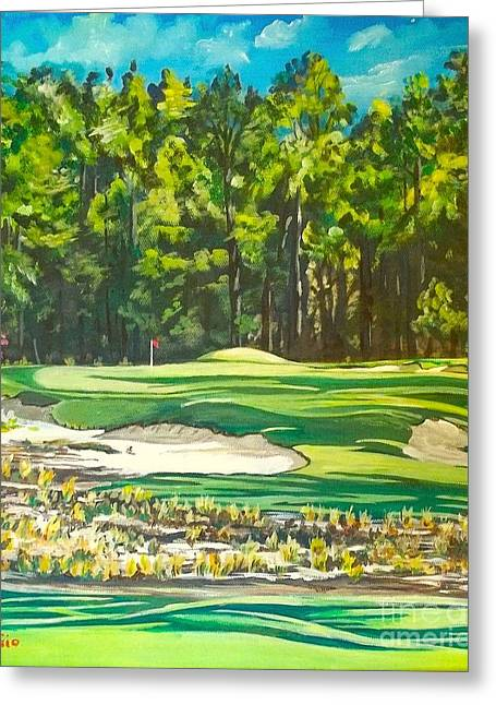 Us Open Golf Paintings Greeting Cards -  Ninth Hole at Pinehurst #2 Greeting Card by Frank Giordano
