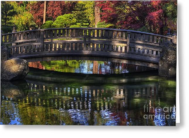 Spokane Greeting Cards -  Nishinomiya Japanese Garden - Bridge over Kiri Pond Greeting Card by Mark Kiver