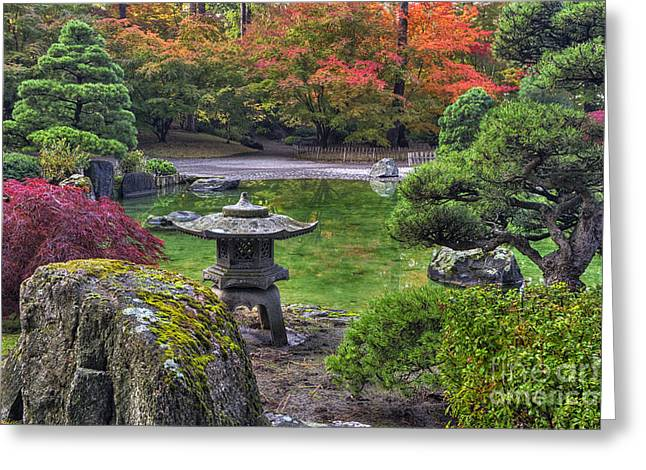 Green Lantern Photographs Greeting Cards -  Nishinomiya Japanese Garden -Japanese Lantern Greeting Card by Mark Kiver