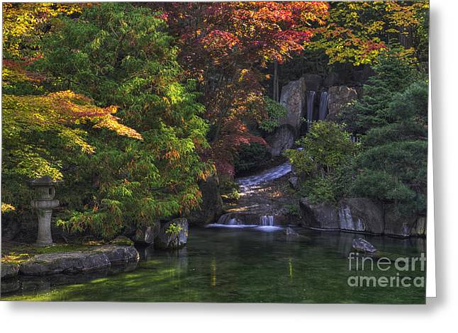 Green Lantern Photographs Greeting Cards -  Nishinomiya Japanese Garden - Waterfall Greeting Card by Mark Kiver