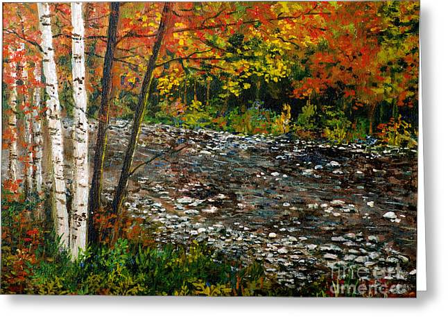 Fall Trees With Stream. Greeting Cards -  North Carolina Stream Greeting Card by Lou Ann Bagnall
