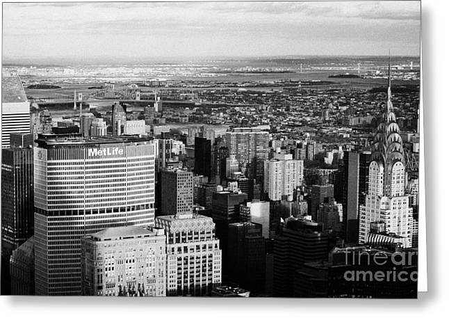 Manhatan Greeting Cards -  North East Towards East River Queens Bronx With Chrysler And Met Life Buildings New York City Greeting Card by Joe Fox